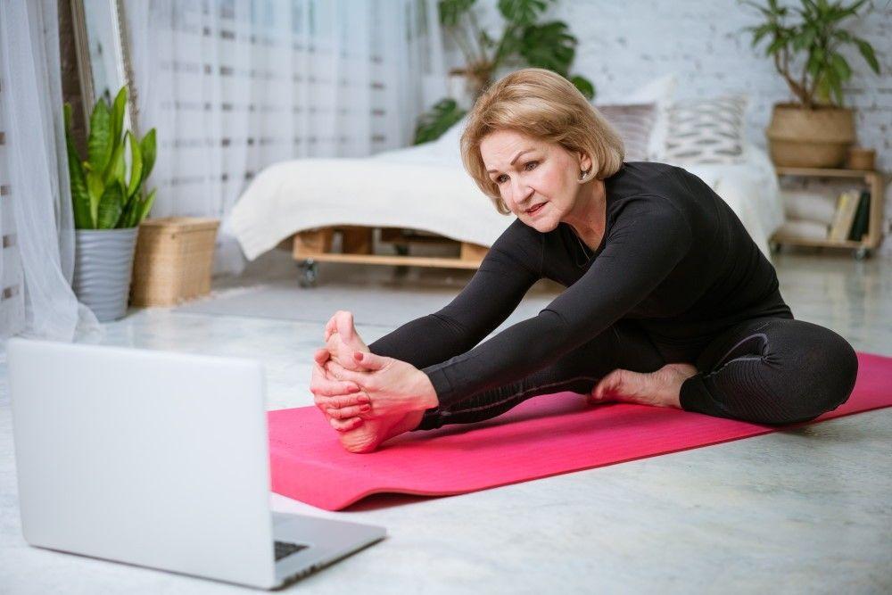 Mature woman pilates